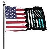 Like-like Verde Azulado Cervical Cancer Awareness US Flag 4x6 Ft (120x180cm) Bandera de Montaje en Pared Ajustable Bandera de la casa
