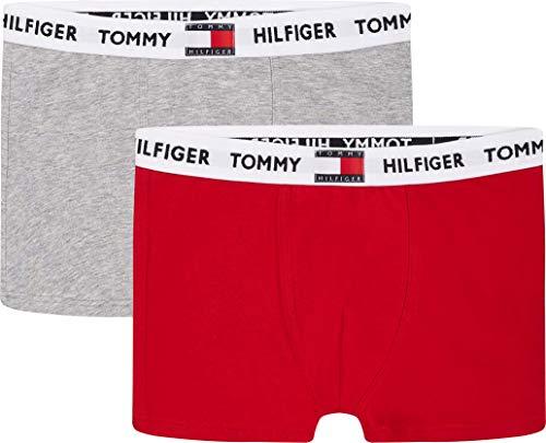 Tommy Hilfiger Jungen 2P Trunk Badehose, Medium Grey Heather/Primary Red, 12/14/2020