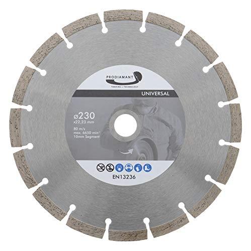 PRODIAMANT Disco de corte de diamante, 230 x 22,2 mm, 10 mm, segmento profesional con alta concentración de diamante, hormigón, piedra, ladrillo, universal