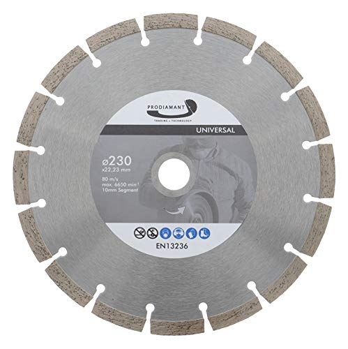 PRODIAMANT Diamant Trennscheibe 230 x 22,2 mm 10mm Profi Segment Beton, Stein, Ziegel, universal 230mm