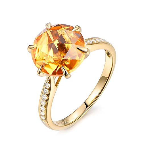 Daesar Anillos de Oro 18 Kilates Mujer Anillo Redondo Citrina Amarillo 4.1ct Diamante Blanco 0.1ct Anillo Talla 18,5