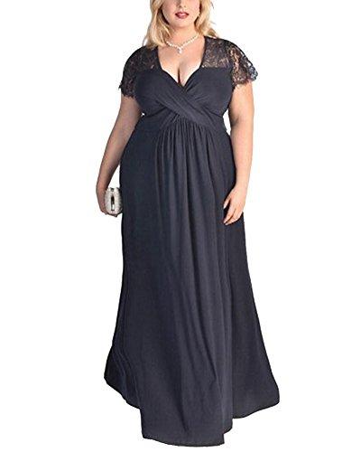 ZhuiKun Mujer Vestido de Encaje V-Cuello Tallas Grandes Vestidos de Coctel Noche Partido Armada 6XL