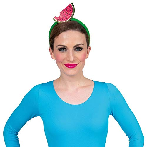 NET TOYS Lustiger Haarreifen mit Melone - Grün-Rot - Außergewöhnlicher Damen-Kopfschmuck Tiara mit Exotischer Frucht - EIN Blickfang für Sommerfest & Karneval