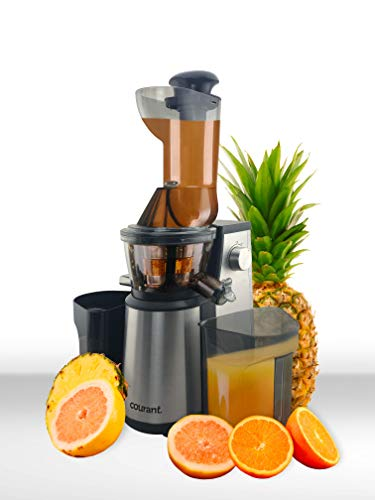 Courant Juicer Masticating Slow Speed Juicer Machine, Super Wide Mouth, Juice Whole Fruits or Wheatgrass and Herbs, High Nutrient Juice, Quiet 400 Watts, with BONUS Sorbet Maker strainer and Brush, Stainless Steel