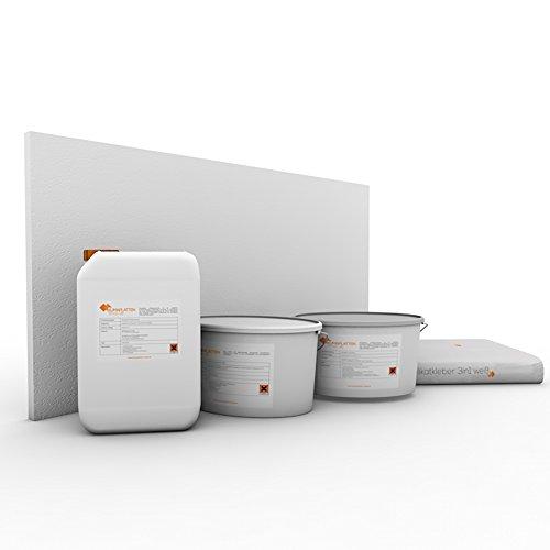Klimaplatten Renovierpaket 25mm Plus4 ( Kalziumsilikatplatten 25mm + Silikatgrundierung + Silikatkleber 3in1 + Kalkspachtel + Silikatfarbe) (6 m²)