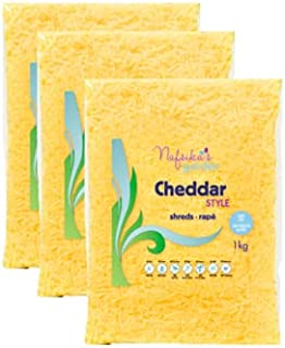 NAFSIKA'S GARDEN Cheddar Cheese Shreds, 1Kg - Pack Of 3