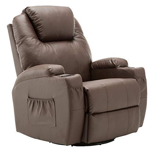 Mcombo Manual Swivel Rocker Recliner Chair with Massage and Heat, 2 Side Pockets, 2 Cup Holders, Durable Faux Leather 8031 (Light Brown)