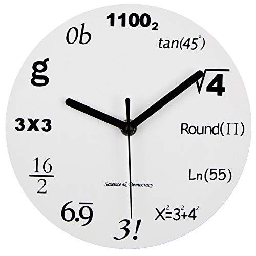 LJFG Reloj de Pared de matemáticas Moda Arte Creativo Reloj de Pared Reloj de Pared Silencio Salto Segundos Ciencia y tecnología Alfabeto Reloj de Aula,20CM