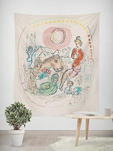 Tapiz - Adornos de Arte para Pared de Hogar, Pareo/Toalla de Playa Grande, Chic Decoración Habitacion 1 pieza, 150×200cm Pintura abstracta Chagall circo