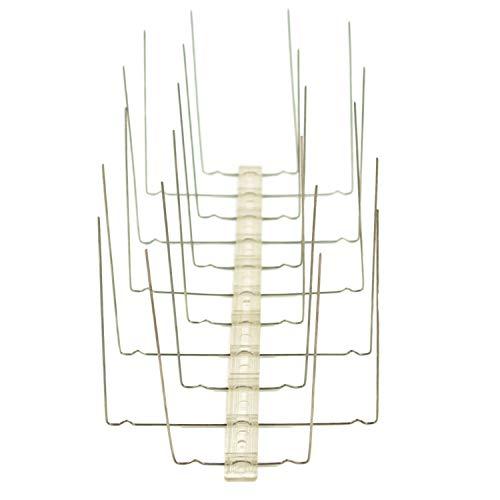 SCHULZ Ahuyentador de Palomas de Acero Inoxidable, 4 Filas en listón de policarbonato/plástico en Diferentes VPE, Pinchos Protectores para balcón, alféizar, canalón, tejado, barandilla