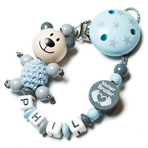 Schnullerkette mit Namen für Mädchen und Jungs - große Farbauswahl (3D Bär blau kleiner Bruder grau)