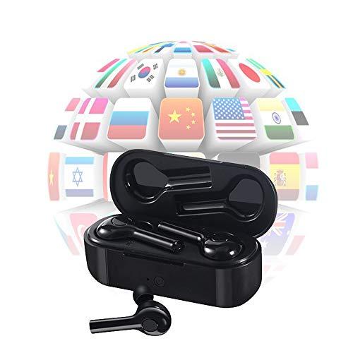 XXHDEE Auriculares de traducción Bluetooth, Dispositivo de traducción de Voz Inteligente, Auriculares inalámbricos TWS, Auriculares Bluetooth Bluetooth 5.0 en la Oreja Traductor (Color : Black)