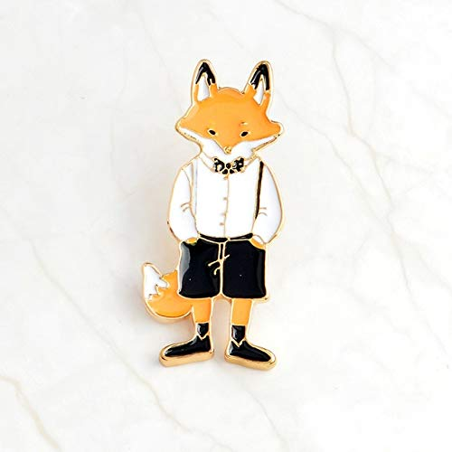 Pins and Brooches Rabbit/Fox/Cat Couple Enamel Pin Badges Hat Backpack Accessories Lovers Jewelry Gift for Lover-Mr Fox