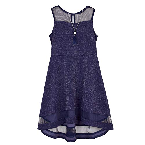 Amy Byer Girls' Knit Dress with Illusion Yoke and Hem, Navy, 7