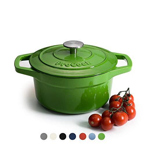 petit un compact ProCook – Petite cocotte ronde – 20 cm / 2,7 l – Dégradé vert – Fonte émaillée – Compatibilité…