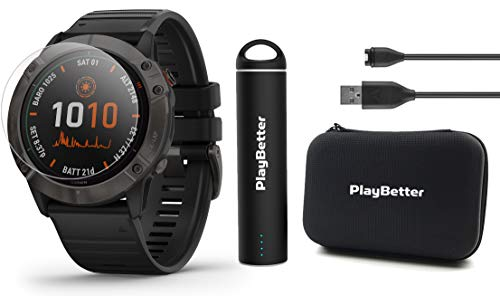 Garmin Fenix 6X Pro Solar (Gray DLC with Black Band) Power Bundle | HD Screen...