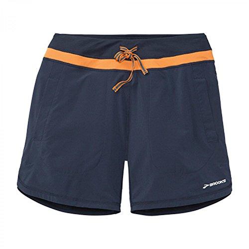 Brooks–Pantalón corto Run 7220886, Mujer, color Midnight/Creamsicle, tamaño 36