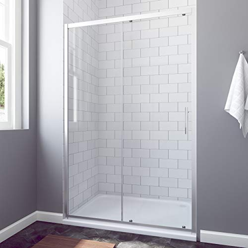 AQUABATOS® 150 x 185 cm Nischenschiebetür Duschabtrennung Duschtür Nischentür Schiebetür Duschwand Glas Dusche ESG