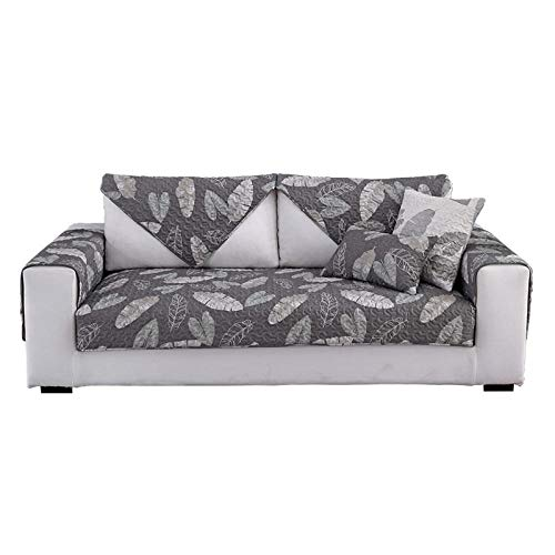 YUTJK Sofa Überwürfe Sofabezug für L-Form Sofa Abdeckung für 1 2 3 4 5 Sitzer, Kinder, Katzen, Hunde, Pet,Baumwollblatt-Drucksofa-Kissenbezug-Grau_110×210cm.