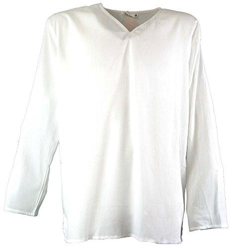 GURU-SHOP, Camicia Yoga, Camicia Goa, Bianco, Sintetico, Dimensione Indumenti:M, Camicie da Uomo