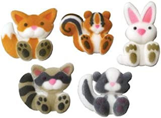 Lucks Dec-Ons Decorations Molded Sugar Cupcake Topper, Woodland Animals Assortment, 1 1/2 - 1 3/4 Inch, 70 Count