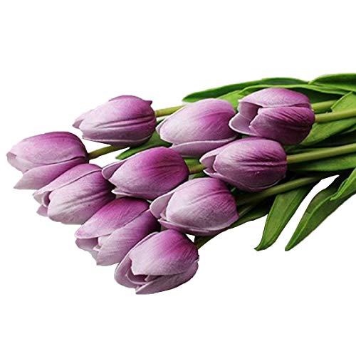 MENGZHEN 12 Farben optional künstliche Blumen 10pcs für einen Satz künstliche Blumen geeignet für Hochzeitsdekoration Hauptdekoration künstlicher Tulpen