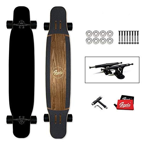 YJCol Longboard 117x24cm Skateboard, inkl. T-Tool mit Hochgeschwindigkeits-ABEC-Lagern, Pro Anfänger Dance Board für Cruising, Carving, Free-Style und Downhill Skateboard,Pure Black