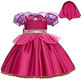 Alvivi Vestido Princesa Niña Manga Corta Disfraz Caperucita Roja con Gorra Vestido Vintage de Fiesta Navidad Carnaval Vestido Elegante de Ceremonia Fucsia+Morado 3-4 años