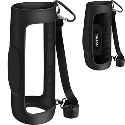 Silikonhülle für JBL Charge 4 Tragbarer wasserdichter kabelloser Bluetooth-Lautsprecher, Reisegel, weiche Haut, wasserdichte Gummi-Tragetasche mit Riemen