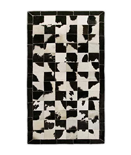Zerimar Alfombra Patchwork Piel de Vaca | Medidas: 140x70 cm | Alfombra Salón | Alfombra Decoracion | Alfombra Dormitorio | Alfombra Natural | Alfombra Vaca