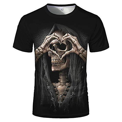 Sunofbeach Unisex 3D Camiseta Divertidas Impresa Personalizada Verano Casual tee Shirts, Gesto Corazón Hippie Gótico Calavera Camisetas Divertidas para Hombres Mujeres,M