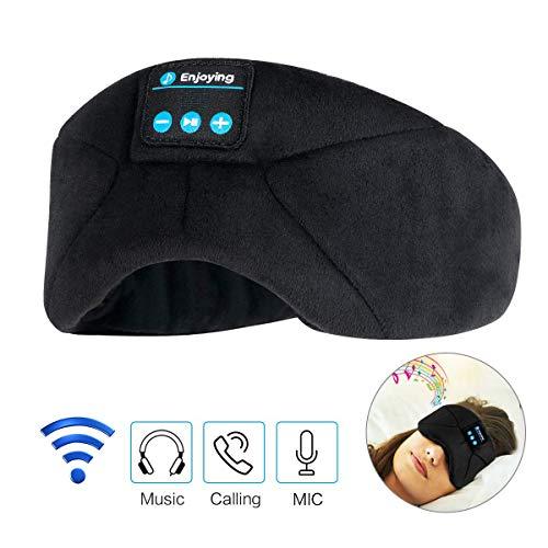Schlafkopfhörer Bluetooth,LC-dolida Bluetooth Schlafmaske Musik Augenmaske für Reisen mit Dem Flugzeug,Bluetooth Headset mit Mikrofon-Freisprecheinrichtung, Lange Spielzeit