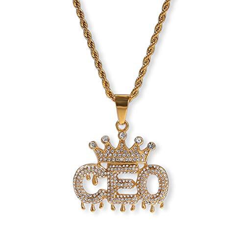 WTZWY Hip-Hop Full Diamond Crown Drop CEO Letter Colgante, Collar Helado con Cadena de Acero Inoxidable de 24 ``, Hipsters de Moda, Regalo de cumpleaños de joyería