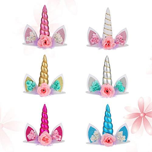 Toyandona - 6 piezas de decoración para tarta con diseño de cuerno de unicornio y flores, decoración para tarta de cumpleaños, baby shower, unicornio, suministros para fiesta