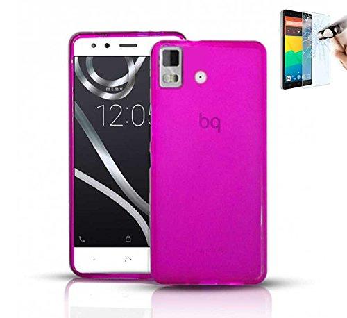 Todobarato24h Funda TPU Lisa Compatible con BQ AQUARIS E5 HD FHD Rosa + Protector DE Cristal Templado