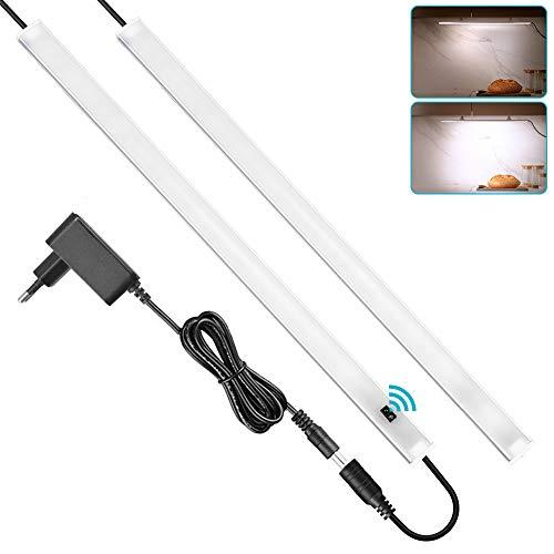SOAIY 2x40cm Luz bajo mueble cocina con sensor movimiento de la mano, Iluminacion ajustable led cocina bajo mueble, luz cocina bajo armario con enchufe, Blanco Frío 4000K