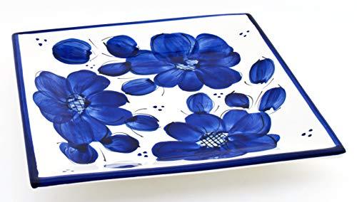 ART ESCUDELLERS Plat CARRÉ en céramique Fait et Peint à la Main avec décoration Bleu Classic. 24 cm x 24 cm x 3,5 cm