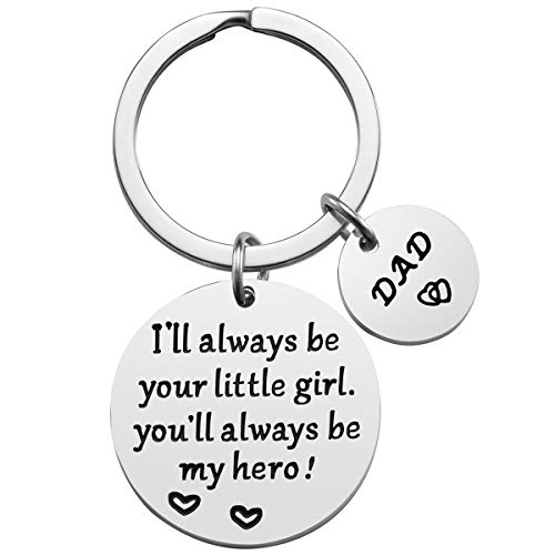Father's Day Gift - Dad Gifts from Daughter for Birthday Christmas, I'll Always Be Your Little Girl, You Will Always Be My Hero Keychain, Dad Valentine's Day Gifts, Father Daughter Gifts