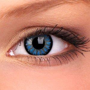 Eye-Effect Kontaktlinsen hellblaue Jahreslinsen, blau / 0 Dioptrien, 2 Stück