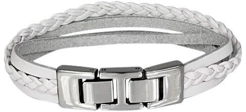 SilberDream Damen-Lederarmband Zierkordel weiß mit Edelstahl Verschluss LAP003W