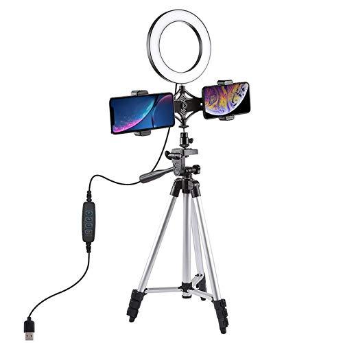 BESISOON Anillo Light Photo Video Luz De Anillo De Video con Soporte De Luz Telescópica Mini Trípode De Escritorio 6,3 Pulgadas Dimmable 3 Modos De Iluminación USBflotante para La Cámara Selfie