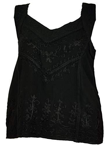 Guru-Shop Besticktes Indisches Hippie Top, Kurze Boho-chic Bluse, Damen, Schwarz, Synthetisch, Size:40, Tops & T-Shirts Alternative Bekleidung
