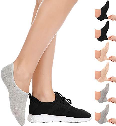 SIMIYA Damen Sneaker Socken, 6 Paar unsichtbare Frauen Füßlinge, rutschfest & atmungsaktiv