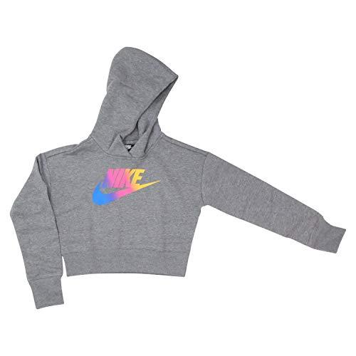 Nike Kinder FF Crop Sweatshirt, Carbon Heather/White, S