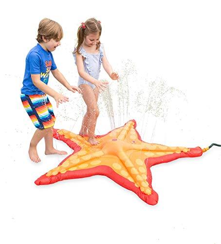 HearthSong Starfish 5-Foot Sprinkler Splash Pad for Kids' Outdoor Active Water Play