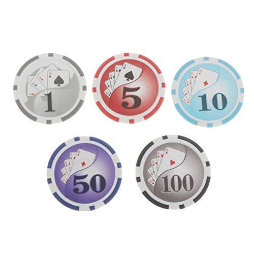 100 Piezas/Juego Fichas de Juego Redondas de Casino Texas Hold'em Poker Mahjong Black Jack Monedas de Juego.