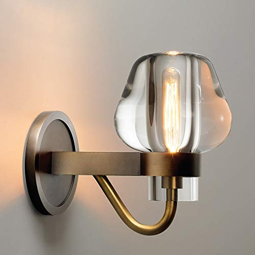 De enige goede kwaliteit Decoratie Bruin Nordic Postmodern Retro Industriële Wind Lampen Hotel Woonkamer Slaapkamer Nachtlampje Koper Crystal Wandlamp 12 * 17,5 (CM)