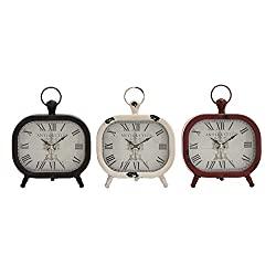 Deco 79 52526 Metal Table Clock, 3 Assorted, 8 by 8