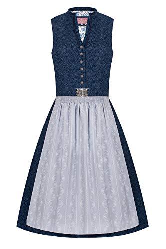 Lieblingsgwand Midi Dirndl 65cm dunkelblau Gemustert hellgrau Antonia 007376, schickes Retro-Dirndl aus Baumwolle mit V-Ausschnitt, mit eleganten Bordüren aus Samt, Plissee und Kordeln 36