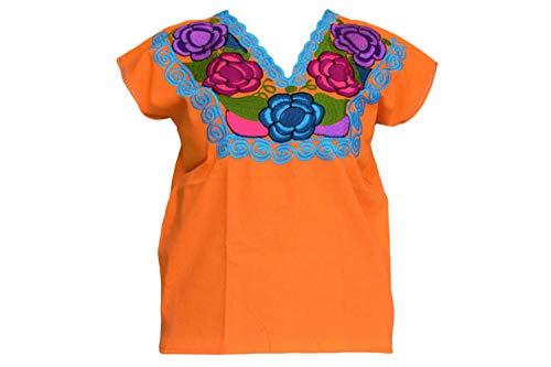 Mexikanische Blusen mit Blumenstickerei von Chiapas Kunsthandwerkern – authentisch und originell – - Orange - Groß